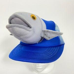 Vintage fish wide brim blue trucker hat novelty